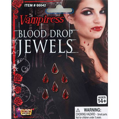 Jewelled Vampiress Blood Drops - Halloween Fake Blood Special Effects front