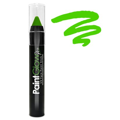Green UV Paint Stick - 3g - UV Glow Makeup & Festival Face Paint front