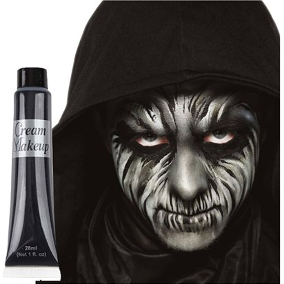 Black Cream Face Paint Tube - Halloween Makeup - 28ml front