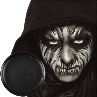 Black Face Paint Pot - Halloween Makeup - 14g front