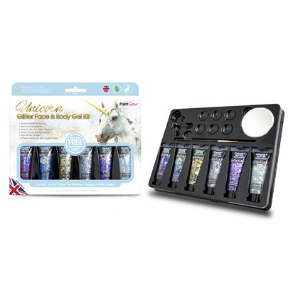 Unicorn Chunky Glitter Gel Kit   - Face Glitter -  Festival Glitter left