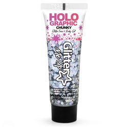 Chunky Glitter Body Gel - Silver 12ml