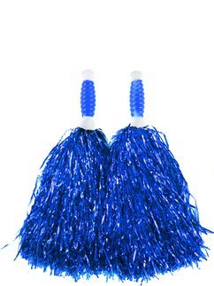 Blue Cheerleading Pom Poms - Standard Tinsel