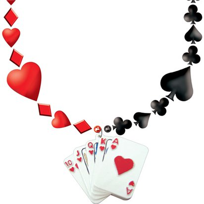 Pack of Cards Bead Necklace - Fancy Dress Accessories front