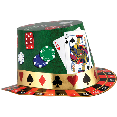 Casino Night Foil Card Hat  front