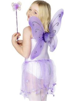 Purple Glitter Fairy Wings & Wand Accessory Kit