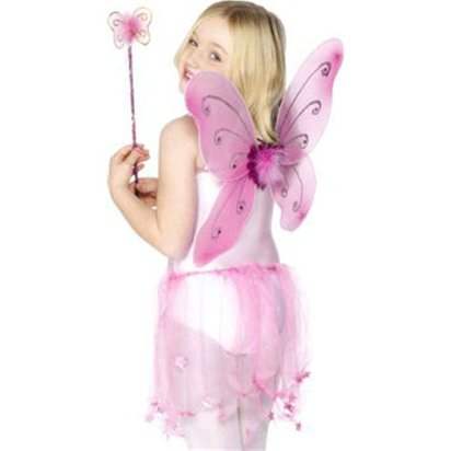 Childrens Pink Glitter Fairy Wings & Wand - 41cm front