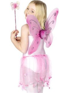 Pink Glitter Fairy Wings & Wand Accessory Kit