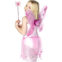 Children's Pink Glitter Fairy Wings & Wand - 41cm