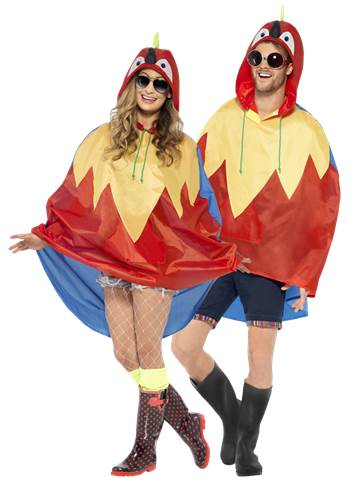 Unisex Parrot Party Poncho - Adult Costume front