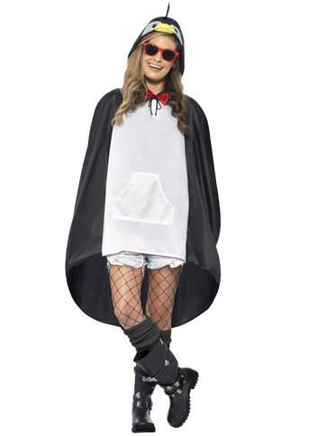Unisex Penguin Party Poncho - Adult Costume back