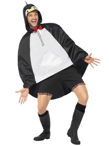 Unisex Penguin Party Poncho - Adult Costume left