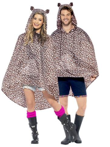 Unisex leopard party poncho adult costume party delights