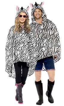 Unisex Zebra Party Poncho - Adult Costume