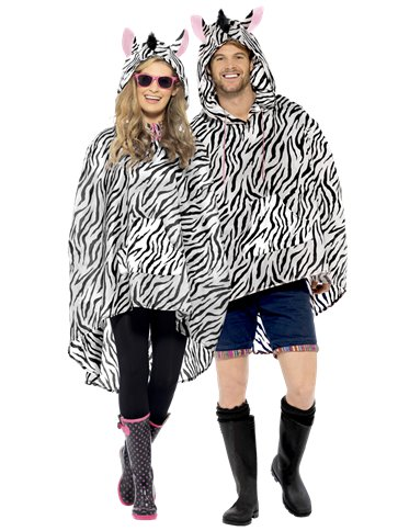 Unisex Zebra Party Poncho - Adult Costume front