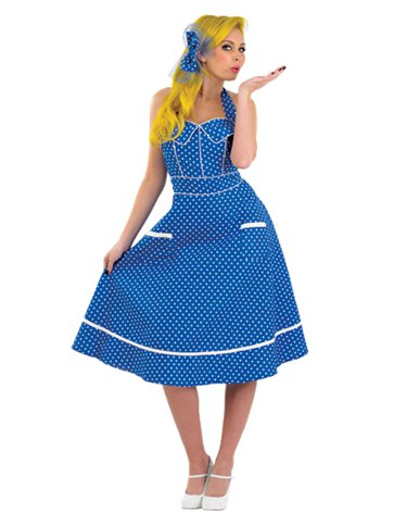 1950s Blue Dress Adult Costume Party Delights