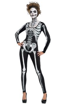 Black and Bone Catsuit - Adult Costume