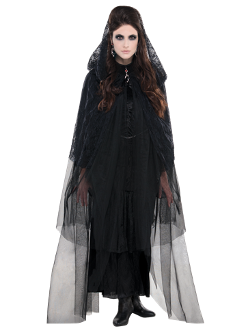 Lace Hooded Cape - Adult Costume front