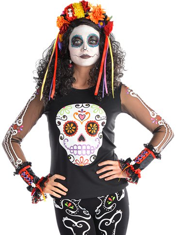 Day of the Dead Top - Adult Costume front