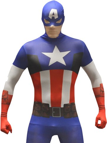 Captain America Morphsuit - Adult Costume front