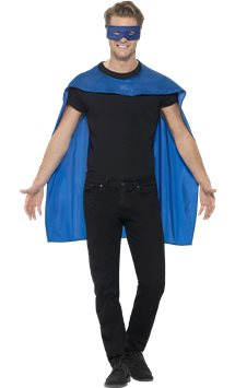 Blue cape and mask - Adult Costume