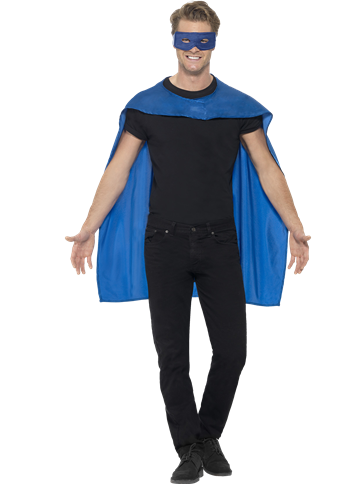 Blue cape and mask - Adult Costume front