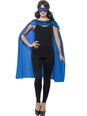 Blue cape and mask - Adult Costume left