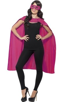 Pink cape and mask - Adult Costume