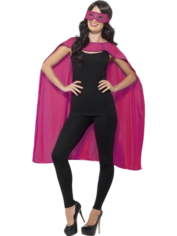BRAND NEW PERSONALISED HEN PARTY SUPERHERO CAPE WITH MASK PINK CAPE BLACK TEXT