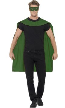 Green cape and mask - Adult Costume