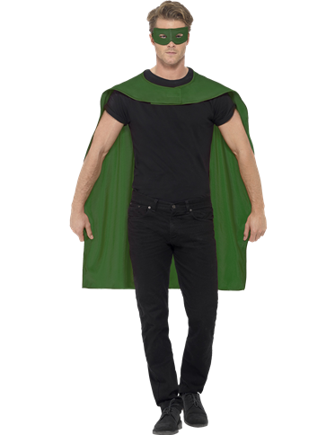 Green cape and mask - Adult Costume front