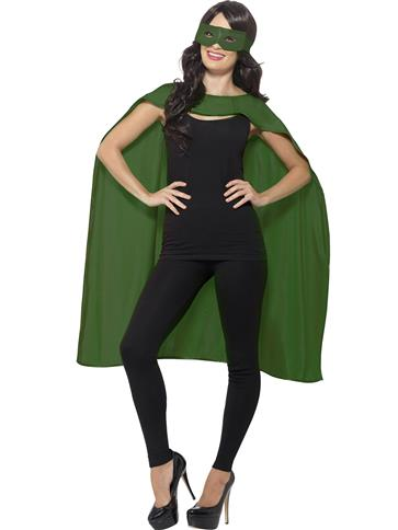 Green cape and mask - Adult Costume left