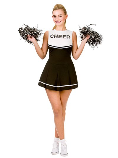 Black High School Cheerleader - Adult Costume