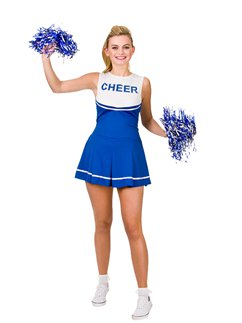 Cheerleader Liceo Colore Blu - Costume Adulto