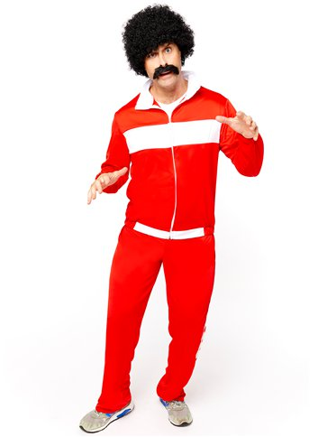 80's Red Retro Trackie - Adult Costume front