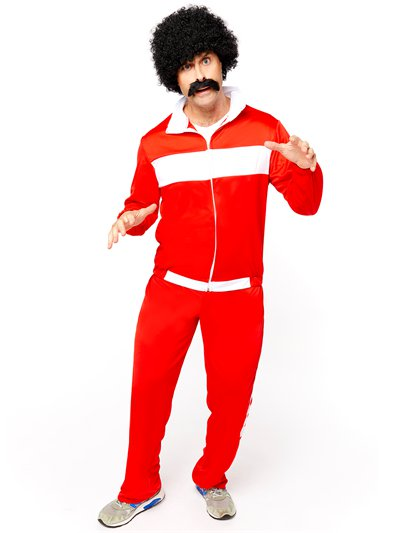 80's Red Retro Trackie - Adult Costume
