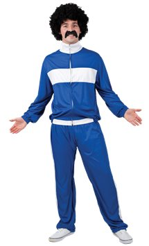 80's Blue Retro Trackie - Adult Costume