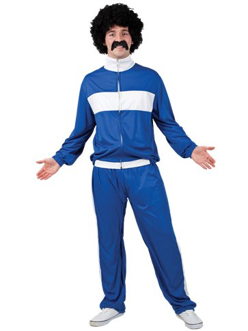 80's Blue Retro Trackie - Adult Costume front