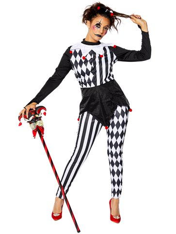 Halloween Party Jester Harlequin Striped Mini Tall Hat Fancy Dress Accessory