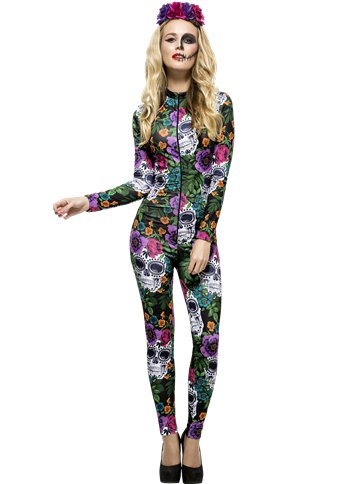Fever Day of The Dead Catsuit - Adult Costume front