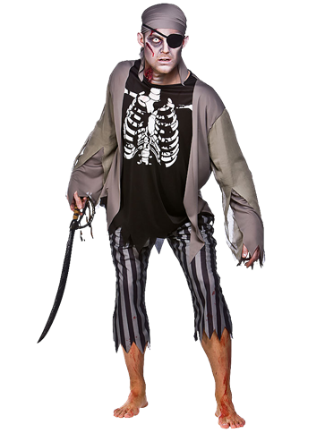 Zombie Skeleton Pirate - Adult Costume front