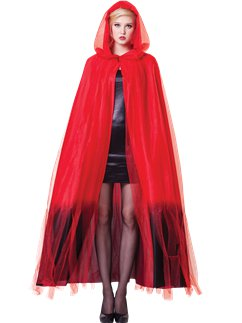 Red Ombre Hooded Cape