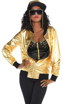 90's Hip Hop Gold Jacket - Adult Costume