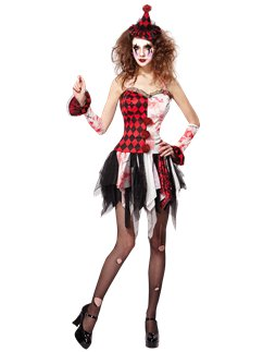 Killer Clown Halloween Costumes For Girls.Scary Halloween Clown Costumes Party Delights