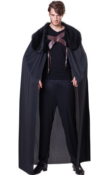 Black Fur Collared Cape - Adult Costume