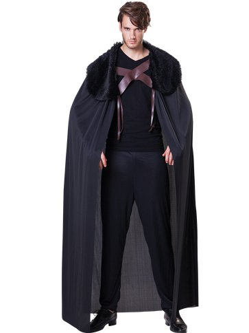 Black Fur Collared Cape - Adult Costume front