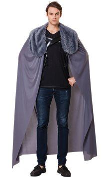 Grey Fur Collared Cape - Adult Costume