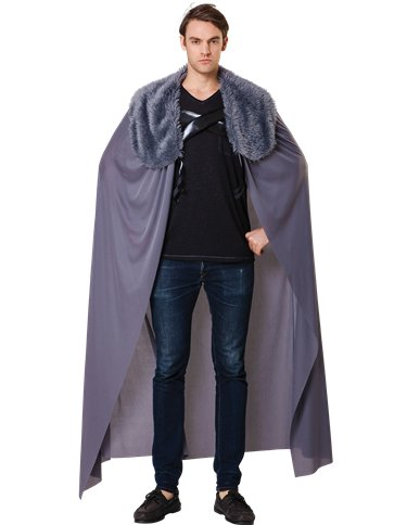 Grey Fur Collared Cape - Adult Costume front