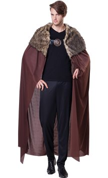 Brown Fur Collared Cape Deluxe - Adult Costume