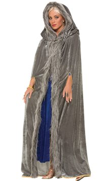 Grey Fur Trimmed Cape - Adult Costume
